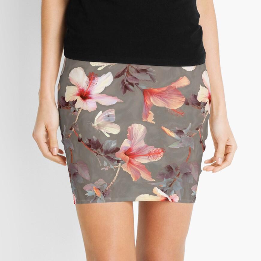 Coral Hibiscus Mini Skirt