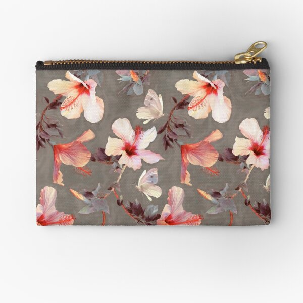 Coral Hibiscus Zipper Pouch