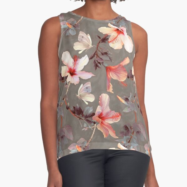 Coral Hibiscus Sleeveless Top