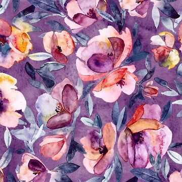 May Afternoon - a watercolor floral in purple and peach de micklyn