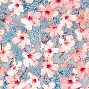 Shabby Chic Hibiscus Patchwork-Muster in Pink & Blau von micklyn