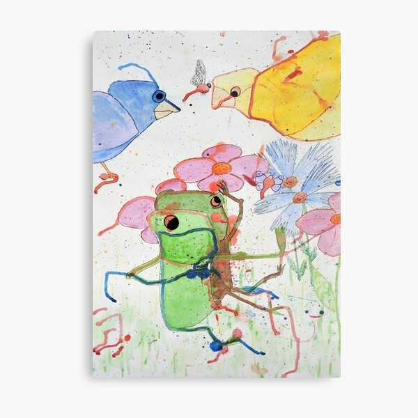 Frogs on a picnic by Laila Cichos Metal Print