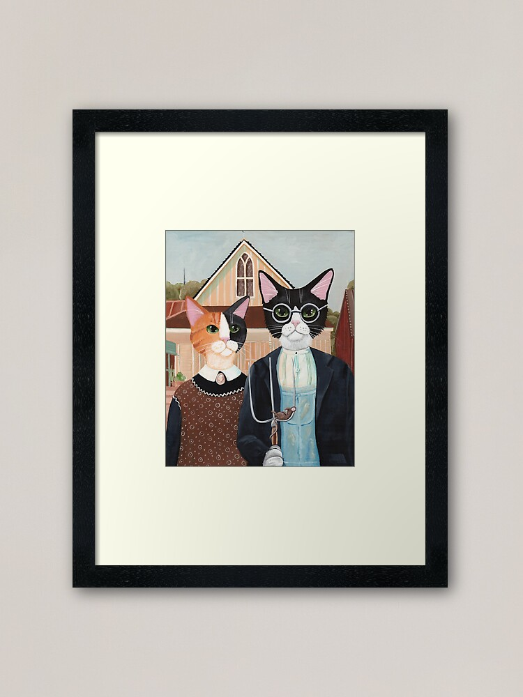 Alternate view of Ameowican Gothic Calico and Tuxedo Cat Framed Art Print