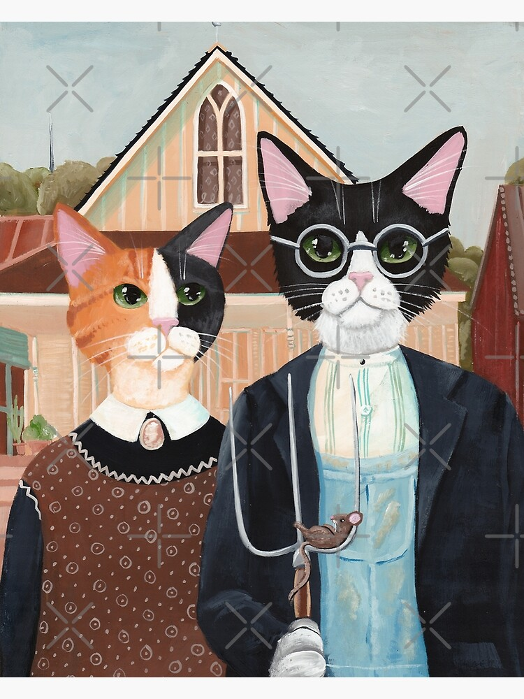 Ameowican Gothic Calico and Tuxedo Cat by kilkennycat