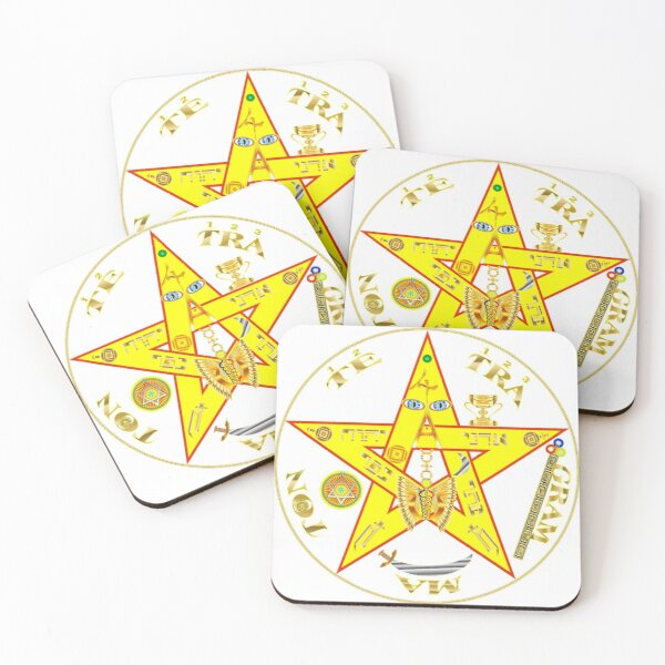 #Kundalini #Pentagrams, #KundaliniPentagrams, #Sign, Symbol, Shape, Design, Illustration, Abstract Coasters (Set of 4)