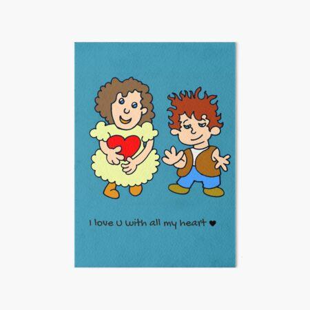 I love u with all my heart - blue - by Laila Cichos Art Board Print
