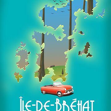 Île-de-Bréhat France map travel poster. by vectorwebstore