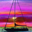 Sailboat Silhouette-digital painting by debrosi