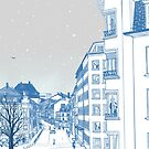 Snow falling slowly in Luxembourg by Kumiyonoe