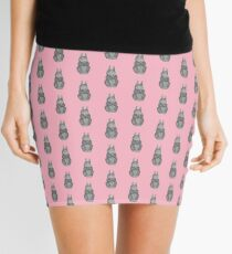 cute brown Bunny with pretty flowers illustration Mini Skirt