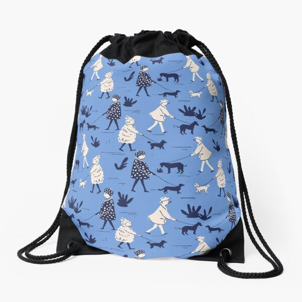 Blue dogs Drawstring Bag