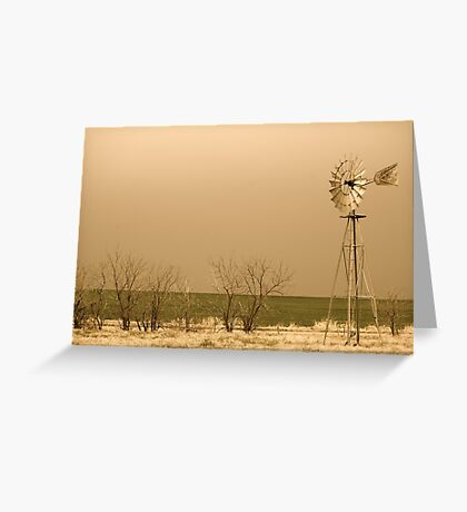 Kansas Windmill in Sepia Greeting Card