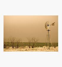 Kansas Windmill in Sepia Photographic Print