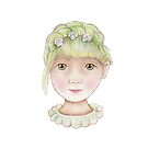 beautiful girl with green hair and flowers by trudette