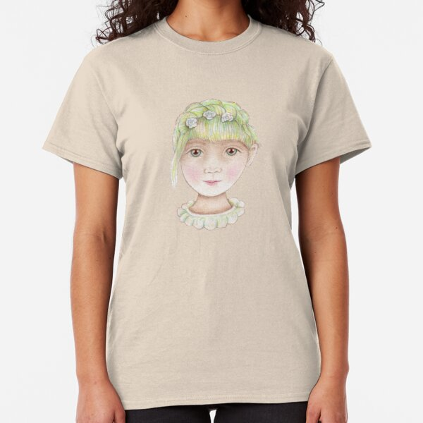 beautiful girl with green hair and flowers Classic T-Shirt