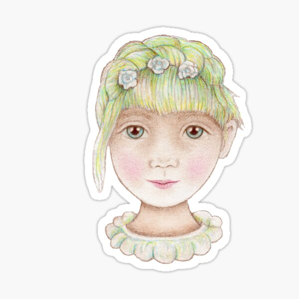 beautiful girl with green hair and flowers Sticker