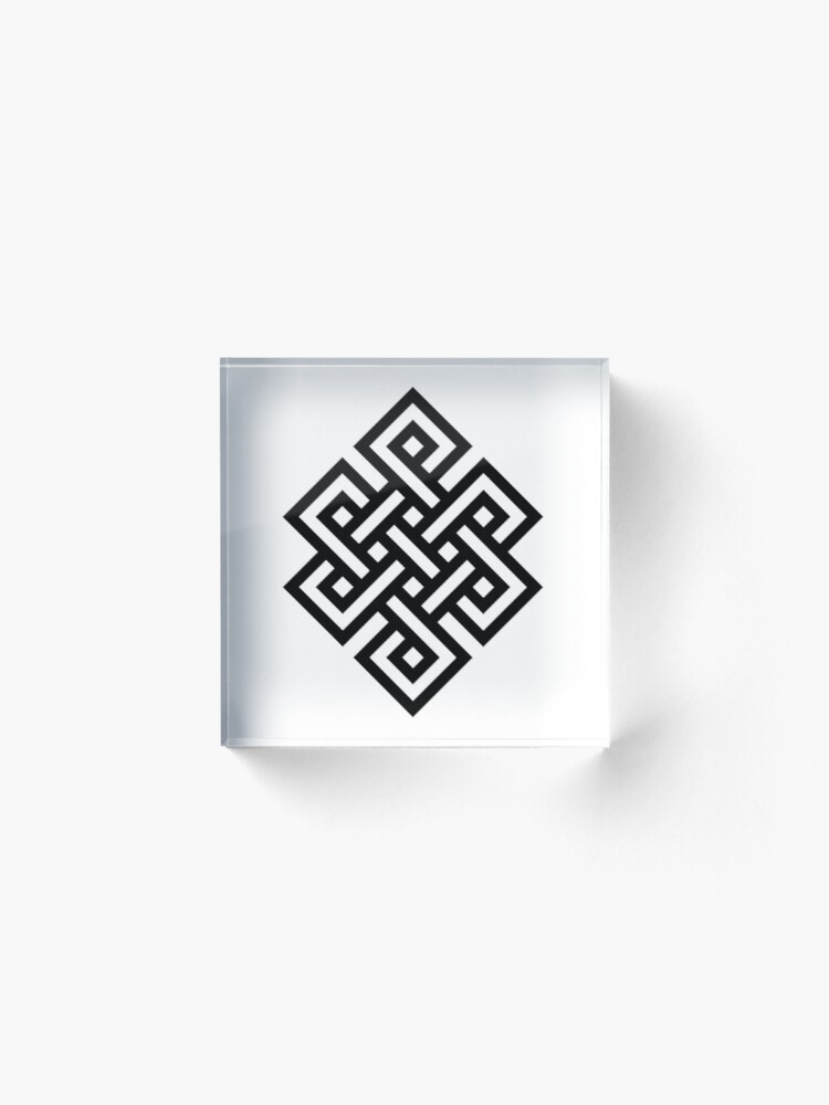 Alternate view of #Endless #Knot #Eternity #Buddhism Overhand Knot Acrylic Block