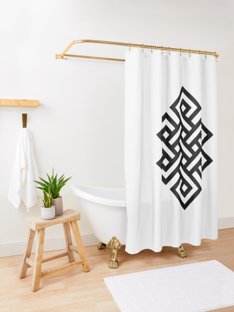 Alternate view of #Endless #Knot #Eternity #Buddhism Overhand Knot Shower Curtain