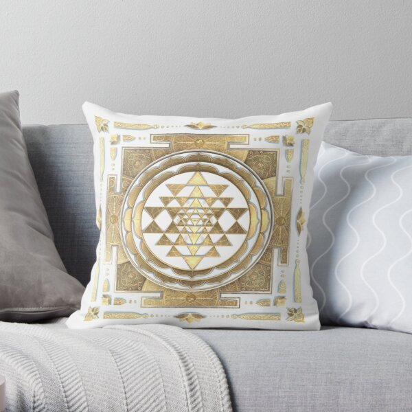 GOLDEN SRI YANTRA (white background) Throw Pillow