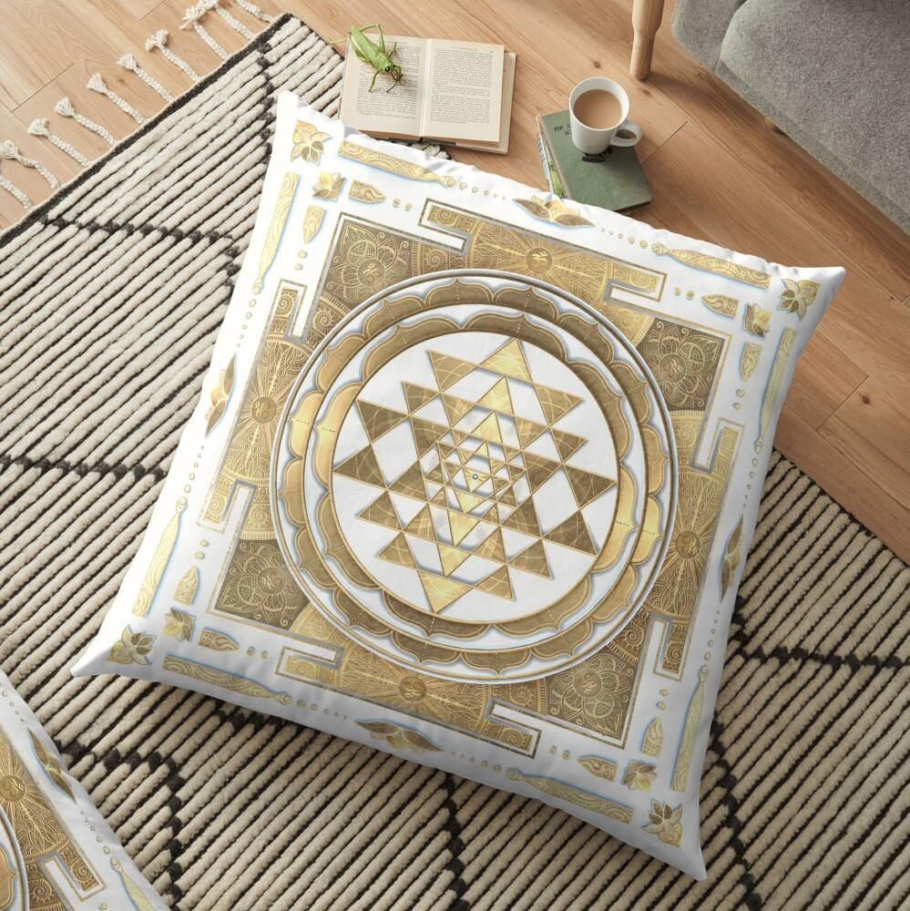 GOLDEN SRI YANTRA (white background) Floor Pillow