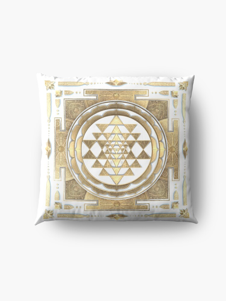 Alternate view of GOLDEN SRI YANTRA (white background) Floor Pillow
