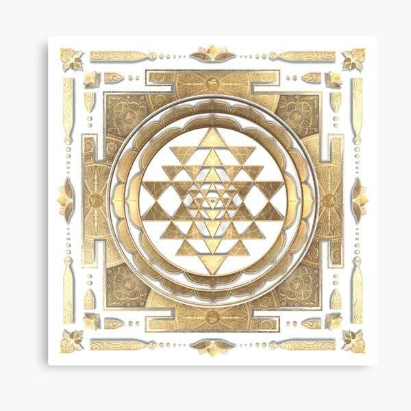 GOLDEN SRI YANTRA (white background) Canvas Print