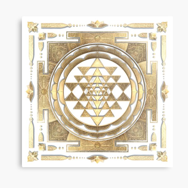 GOLDEN SRI YANTRA (white background) Metal Print