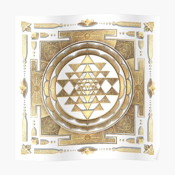 GOLDEN SRI YANTRA (white background) Poster