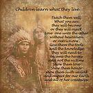 Kinder lernen, was sie leben Native American Paar von Irisangel