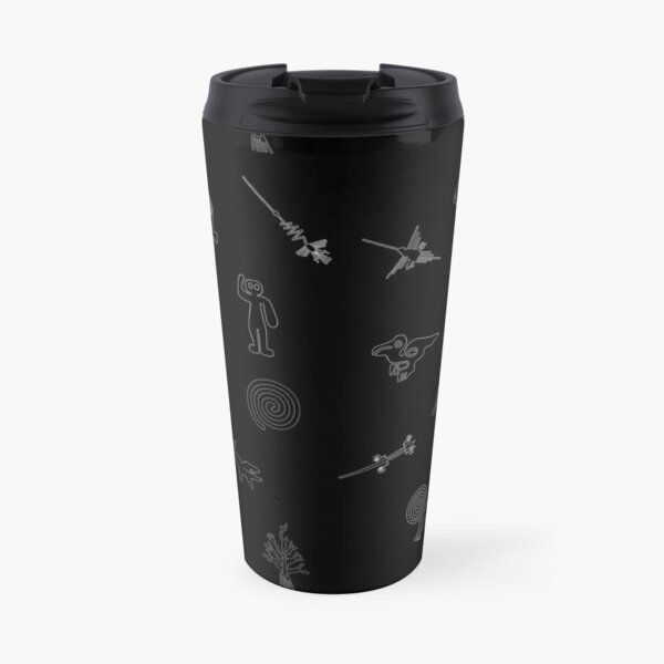 Nazca Lines Collected - White on Black Travel Mug