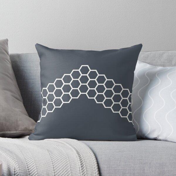 Honeycomb Arrow in White on Modern Navy Blue-Grey. Minimalist. Modern. Geometric. Clean.  Throw Pillow