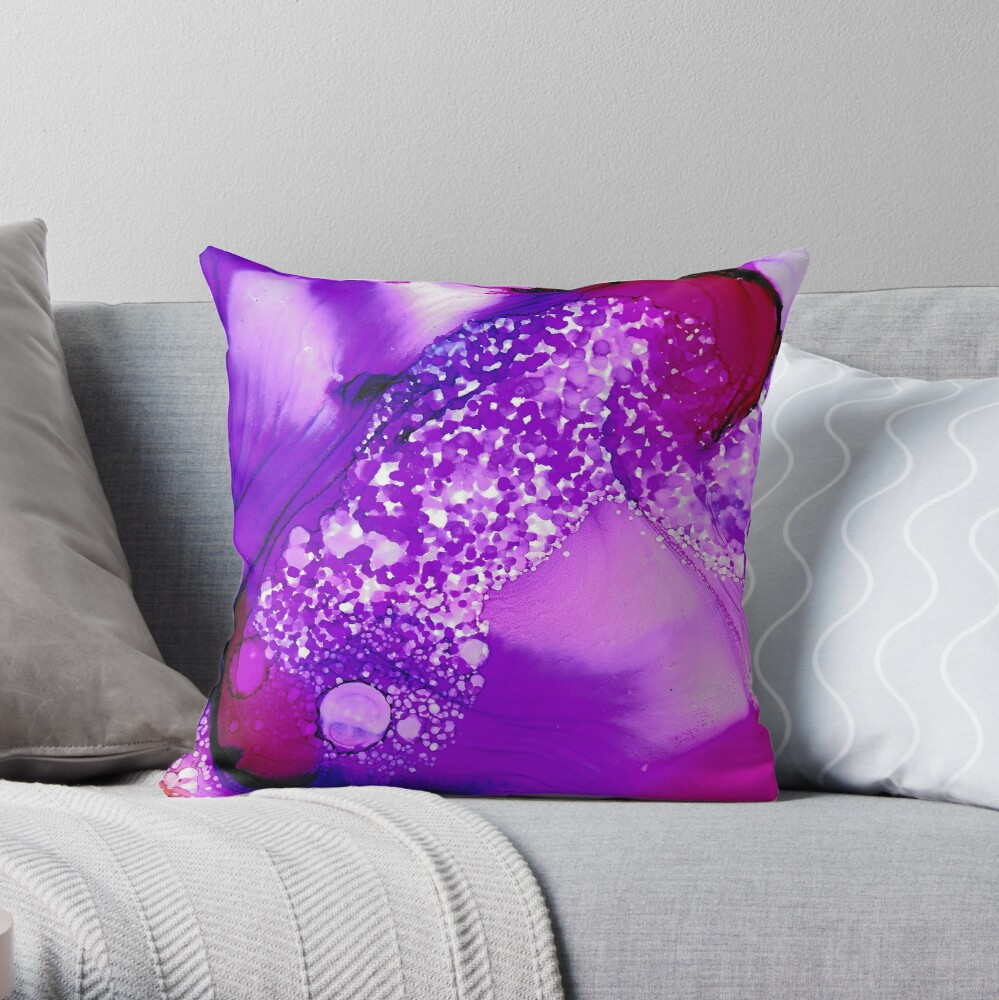 Royal Puple Bubbly Throw Pillow