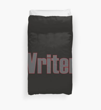 Writer -- Black Text with Red Outline Duvet Cover