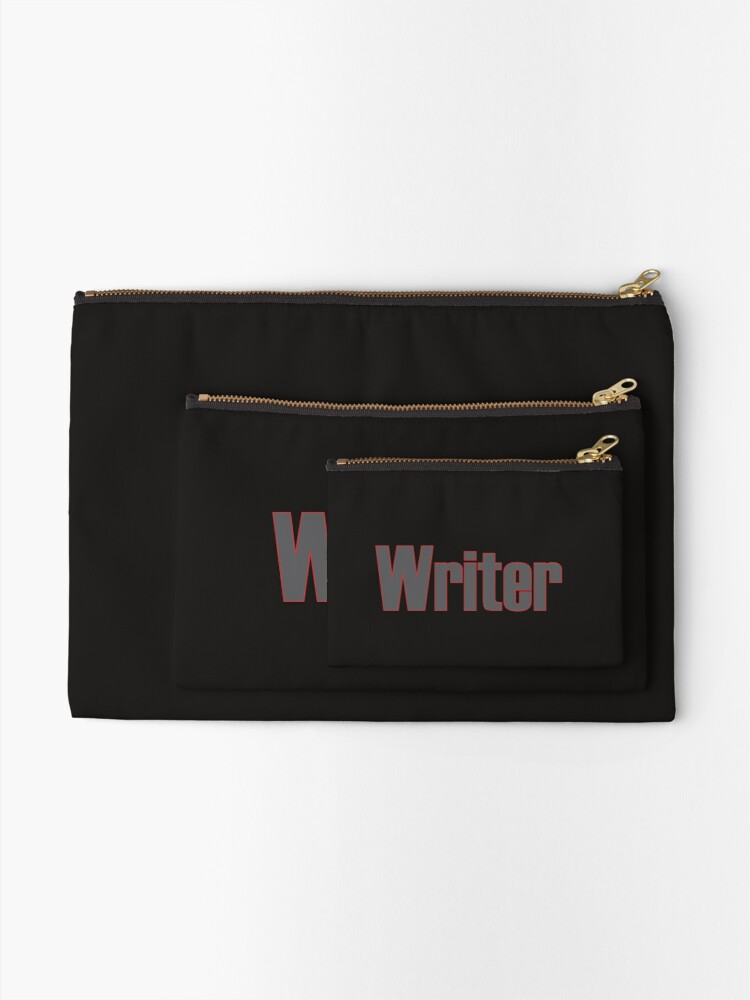 Alternate view of Writer -- Black Text with Red Outline Zipper Pouch