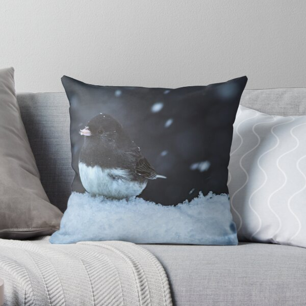 Dark Eyed Junco in Snow Storm Throw Pillow