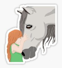 Little Girl and her horse Sticker