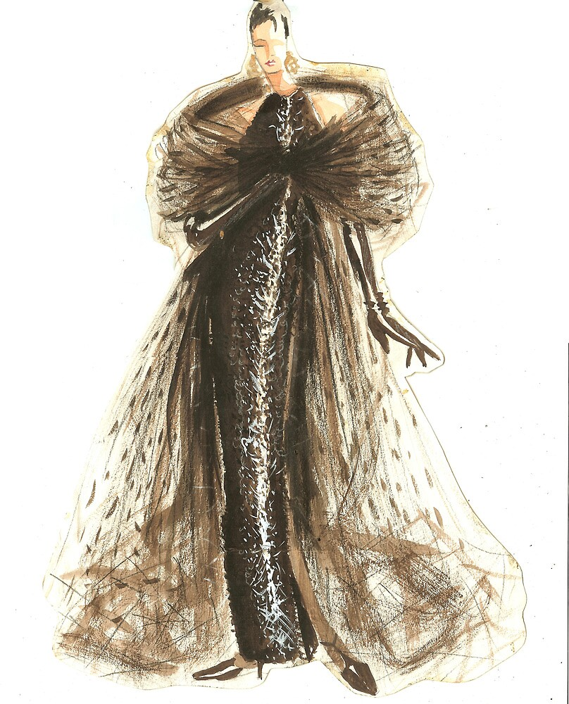 Fashion Sketch Of Couture Gown By Kathlin Argiro Redbubble