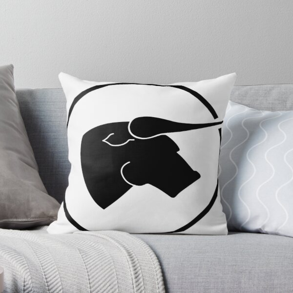 Black Bull - Black on White Throw Pillow