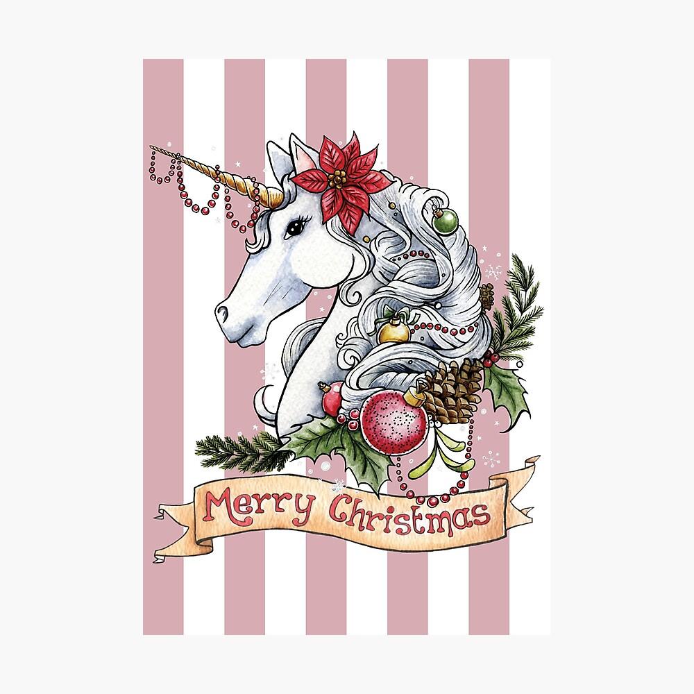 Weihnachts-Einhorn Fotodruck