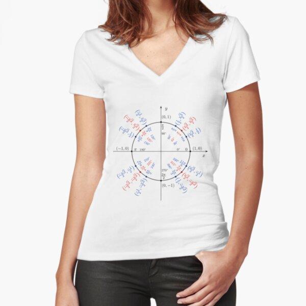 #UnitCircle, #Circle, #Trigonometry, #Sine, Trigonometric Functions, Cartesian Coordinate, System, Mathematics Fitted V-Neck T-Shirt
