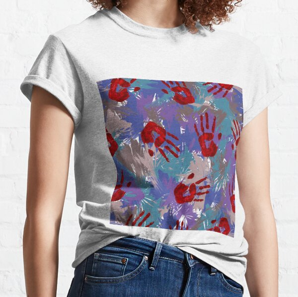 Red hands on blue and purple abstract jungle Classic T-Shirt