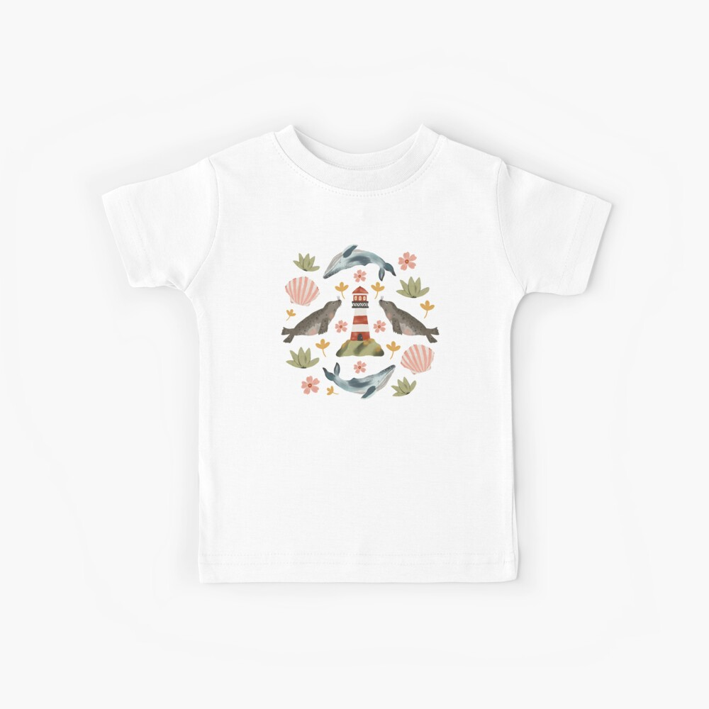 Lighthouses, Seals, and Whales Kids T-Shirt