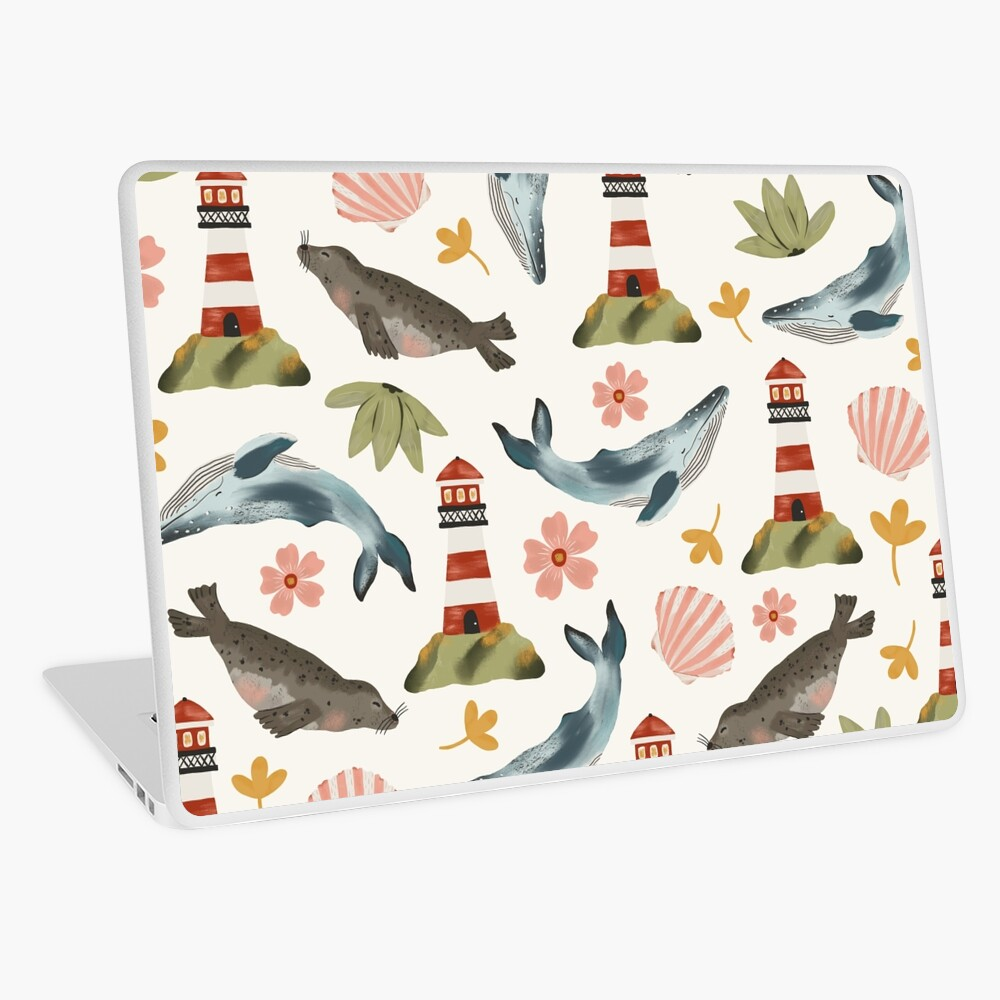 Lighthouses, Seals, and Whales Laptop Skin