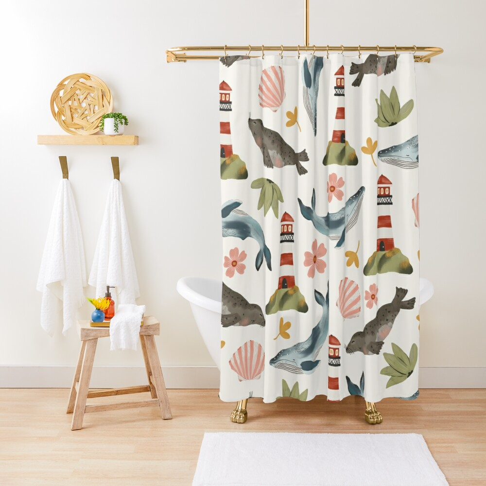 Lighthouses, Seals, and Whales Shower Curtain