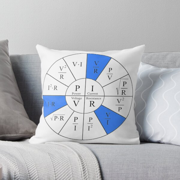 Ohm, Electric Current, Electricity, Electrical Resistance, Conductance, Electrician, Ampere, Electrical Network Throw Pillow