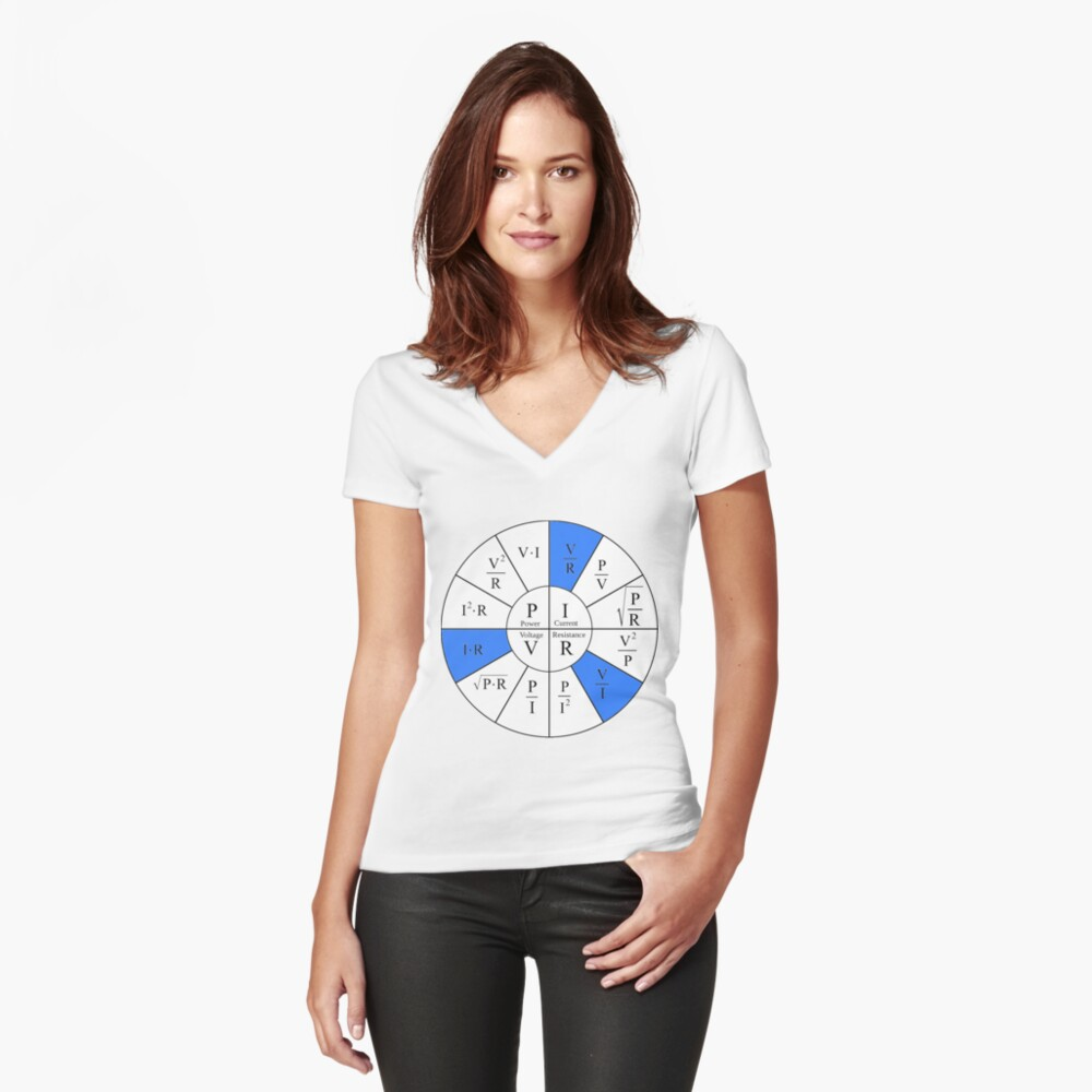 Ohm, Electric Current, Electricity, Electrical Resistance, Conductance, Electrician, Ampere, Electrical Network Fitted V-Neck T-Shirt