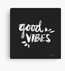 Good Vibes – White Ink Canvas Print