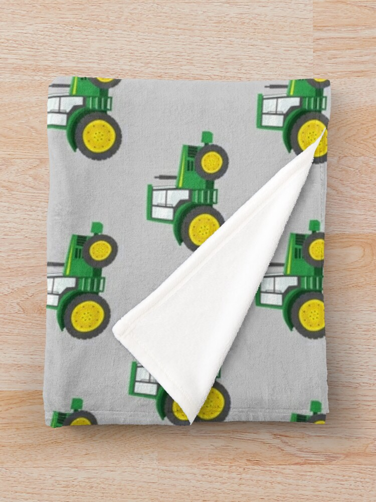 Alternate view of Green Tractors on Grey - Farming - Farm Themed Throw Blanket