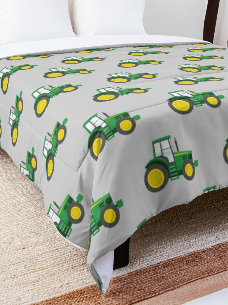 Alternate view of Green Tractors on Grey - Farming - Farm Themed Comforter