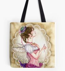Victorian Sewing Fairy with lace and corset Tote Bag